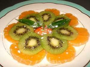 Carpaccio orange-kiwi au grand marnier