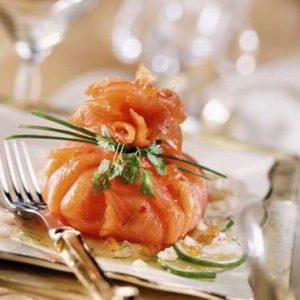 aumoniere de saumon au crabeaumoniere de saumon au crabe