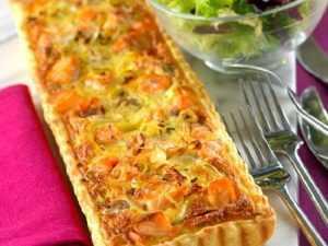 Recette tarte poireau, saumon et crevettes