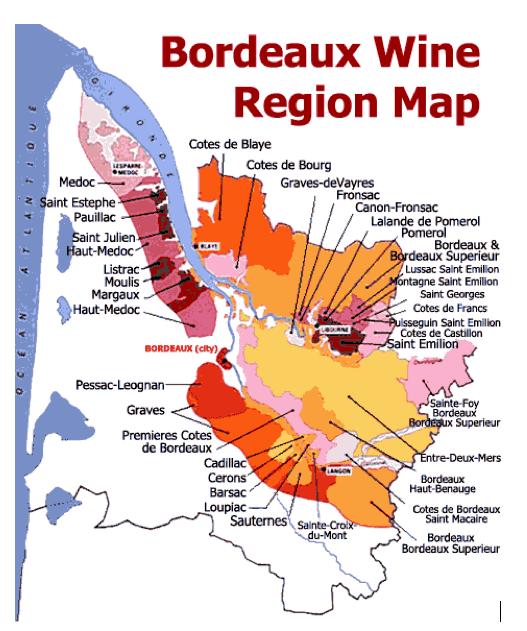 Carte de la région des vins de Bordeaux