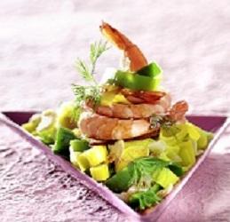 crevettes et poireaux au micro-onde