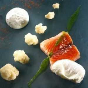 Recette Pavé de Saumon, chou-fleur et oeufs pochés, fromage blanc à la ciboulette