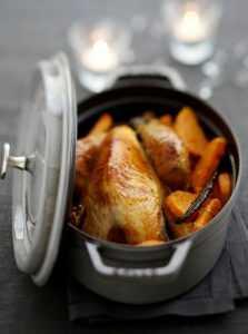 Recette Pintade en cocotte aux patates douces vanillées