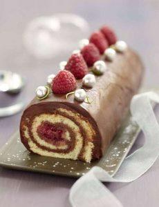 Recette Bûche roulée chocolat, framboise biscuit, coco citron vert
