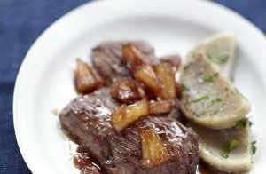 Recette Hampe grillée à l'aigre doux, poêlée de coeur d'artichauts