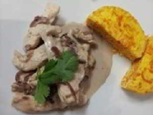 Recette émince de poulet et compotée d'oignon