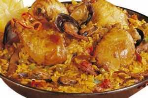 recette de paella fruits de mer, chorizo poulet