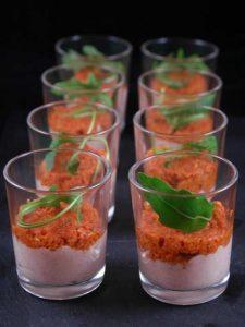 verrine de jambon et tomate