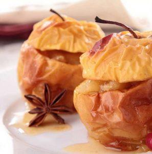 pomme au four au gingembre et aux noix