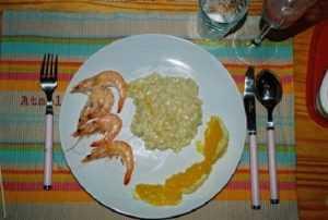 Recette risotto de crevettes à l'orange