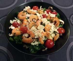 Recette Salade de mâche aux fruits de mer et au sésame