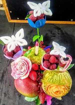Virginie Souchet, sculpture sur fruits