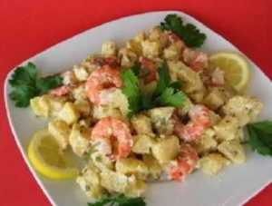 Recette Salade aux crevettes roses, pommes et curry