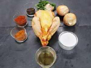 Ingrédients du Poulet à l'ail noir, cuit à l'envers