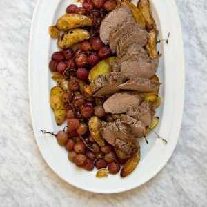 Recette Porc rôti aux raisins, pommes et cidre breton