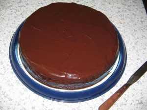 Gâteau yaourt et couche 'croquante' chocolat noir
