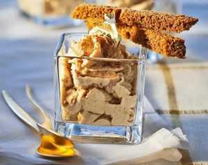 Recette Verrines de chantilly de foie gras aux mouillettes de pain d'épices