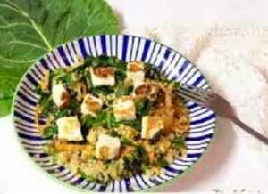 Recette Salade tiède épinards/poulet au fromage halloumi