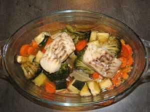 Recette Poisson et légumes au four