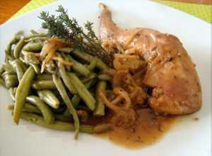 Recette Sauté de lapin aux oignons caramélisés