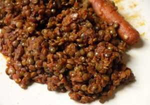 Recette Ragoût de lentilles en sauce et saucisses