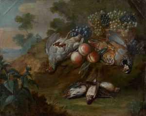 P. Paillou (vers 1745). Nature morte aux perdrix rouges et grises, cailles et bécassines près d'un panier de raisins et de pêches dans un paysage
