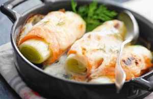 Rouleaux de poireaux au saumon fumé