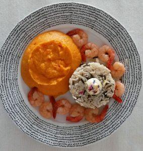 Recette Gambas à la purée de carottes coco