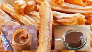 Churros à la cannelle et sauces au chocolat et caramel
