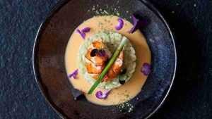 Risotto au thé Matcha aux médaillons de homard