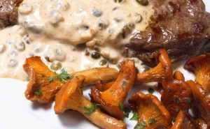 Rumsteck grillé à la plancha et sauce aux poivres